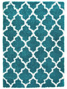 Modern Contemporary Shag Rug Turquoise White Trellis 3x5 5x7 8x10 Rugs