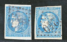 2x Mi.41II/Yv.42 - Republik 1870/71-Kopf der Ceres-20 C blau-Bordeaux Ausgabe