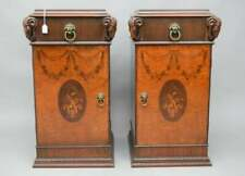 Pair of large Inlaid wood Side Tables. Carved Ram Heads with 3 interior drawers.