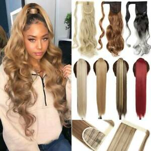 Megic Tape Thick Ponytail Clip In as Human Hair Extensions Wrap False Pony Tail