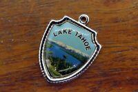 Vintage silver LAKE TAHOE CALIFORNIA SIERRA NEVADA TRAVEL SHIELD charm #E30