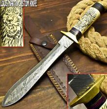LOUIS MARTIN CUSTOM HANDMADE DAMASCUS HUNTING DAGGER KNIFE CAMEL BONE SCRIMSHAW