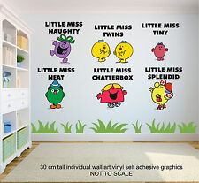 LITTLE MISS MR MEN CHARACTERS  6qty Childrens Bedroom 30cm tall Wall Stickers