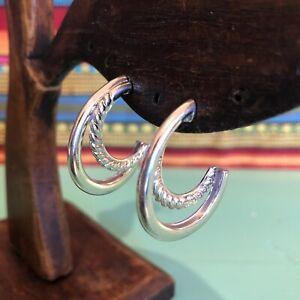 FOSSIL Sterling Silver 3/4 Double Hoop Post Back Earrings