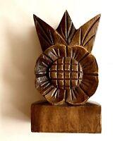 Vintage Sunflower Napkin or Letter Holder, Carved Wood