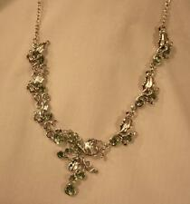 Lovely Sculpted Pale Green Rhinetones Leaf Clusters Silvertone Pendant Necklace
