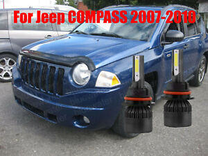 LED For Jeep COMPASS 2007-2010 Headlight Kit H13 6000K White Bulbs High/Low Beam