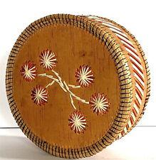 Ojibway Canada Birchbark Porcupine Quill Sweet Grass Box