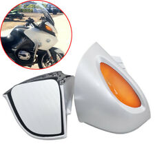 Pair Silver Rearview Side Mirrors Amber Lens For BMW R1100 RT R1100 RTP R1150 RT