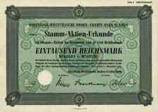 Rheinisch Westfälische Boden Credit Bank 1941 Köln Frankfurt Lone Star 1000 RM