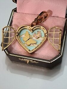 JUICY COUTURE Heart Window Charm Butterflies Crystals RETIRED NEW in Orig BOX