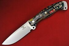 "Busse Custom Mean Street Ergo .158"" Satin INFI Blade, Brick Stacked Fossil Tooth"
