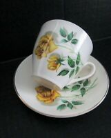 Staffordshire England Crown Essex 22 KT Gold Trim Teacup And Saucer Yellow Roses