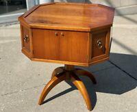 Vintage HEKMAN Mid Century Modern Maple Wood Pedestal Storage Lamp End Table