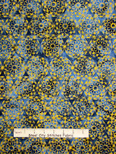 Batik Fabric - Medallion Blue Yellow Batik Textiles Quilt Shop Quality - YARD