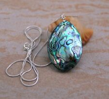 Beautiful natural Paua Abalone Shell pendant necklace on a silver plated chain