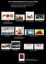 SELBSTKLEBENDE - alle des Jahres 2010**, 13 Werte postfrisch (weiße Rückseite)#