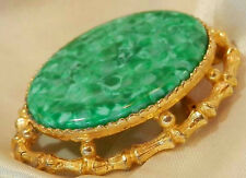 Pretty Lucky Bamboo Vintage 50's Green Art Glass Brooch W/ Watch Hook 28S6