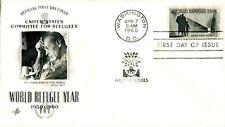 1960 COMMEMORATIVE 4 CENT WORLD REFUGEE YEAR ART CRAFT CACHET UNADDRESSED FDC
