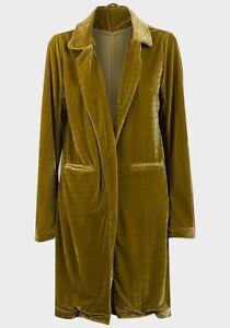 Women's Open Front Velvet Coat, Avocado Green, UK Size 8-16, BNWT, RRP £29.95