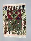 Small Vintage Turkish Kilim 97x70 cm Wool Kelim Rug Red Green beige Black