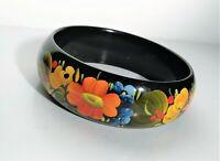 Vintage Hand Painted Russian Enamel Bracelet Bangle Black Lacquer Flower Garden