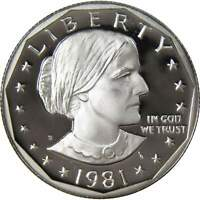 1981 S Type 1 Rounded S Susan B Anthony Dollar Choice Proof SBA $1 US Coin