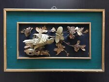 Fine Old Antique Chinese Deeply Carved Wood Gilt Gold Bird Flowers Art Plaque NR