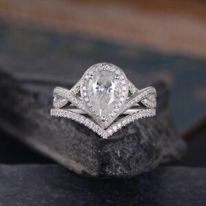2.0 CT Pear Cut Cz Stone Infinity Halo Engagement Wedding Promise Bridal Set