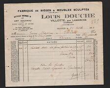 Villotte, facture 1929, Louis douche fabrique de sièges & meubles sculptés