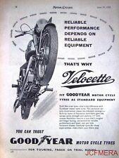 1958 Motor Cycle ADVERT - Velocette 'Good Year Tyres' Vintage Original AD