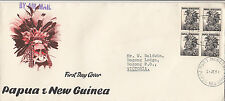 Stamp 1958 Papua New Guinea 3&1/2d black native block 4 on official FDC scarce