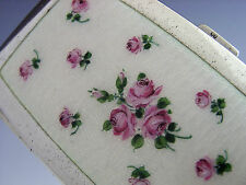 Sterling Silver émail roses étui à cigarettes autrichien c1919 ART DECO ANTIQUE