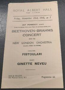 1945 Ginette Neveu New London Orchestra Concert Programme Royal Albert Hall