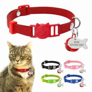 Suede Leather Custom Personalized Breakaway Cat Collars with Bell Kitten