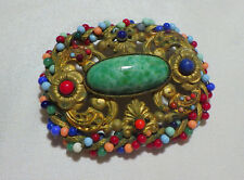 """Czech Victorian Brooch, 2"""" With Multi Cab Stones Brass Metal"""