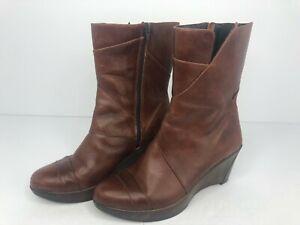 Naot Ella Womens Boots Brown Leather Mid Calf Wedge Heel Side Zip US 7