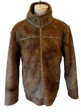 Deer hide faux fur lined collar vegan jacket hunting aviator flight vintage