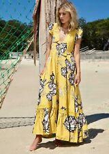 NWT Jaase Carmen Golden Lilies Button Front Maxi Dress Yellow Floral SZ M