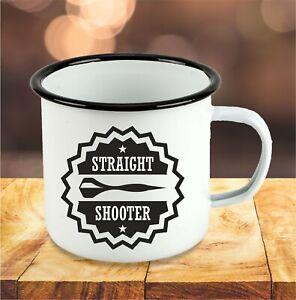 Straight Shooter 180 Dart Emaille Tasse Becher Kaffeetasse Geschenk Dartscheibe