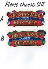 Scott Bonnar Standard & Supercut Electric Vintage Mower Repro Scroll Decals