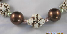 "White nugget with brown veins, Pearls Hand Made Necklace Quartz 22"" Marie #181"