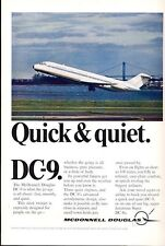 1968 McDonnell Douglas PRINT AD Rapid Transit  DC-9 Airplane Taking off