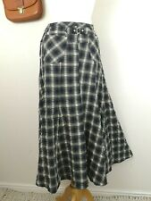 Check A-Line Skirt. UK 10. Midi Length. Flare. Pockets. Black Mix. Tartan.