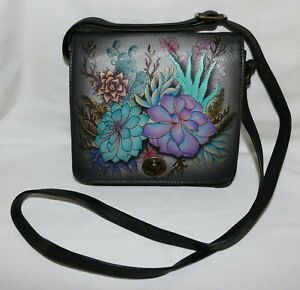 Anuschka Floral Painted Leather Crossbody Shoulder Bag LN