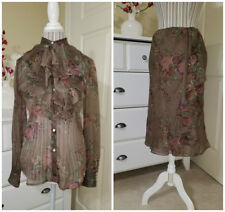 Lauren Ralph Lauren 2 Pc. Skirt Suit Brown Floral PolyChiffon Ruffled Sz.S $218