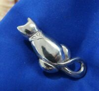 Vintage Cat Kitten 0.925 sterling silver round Brooch Pin Broach