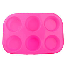 2x Large Silicone Non Stick Muffin Tin Tray Baking Pudding Mould Bun - 6 Cup