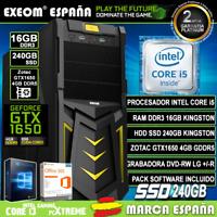 Ordenador Gaming Pc Sobremesa Intel i5 16GB DDR3 SSD 240Gb Gigabyte GTX1650 4Gb