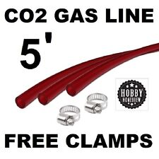 RED GAS LINE CO2 HOSE 5' TRANSPARENT TUBING 5/16 ID X 9/16 THICK-WALL TUBE w/CLA
